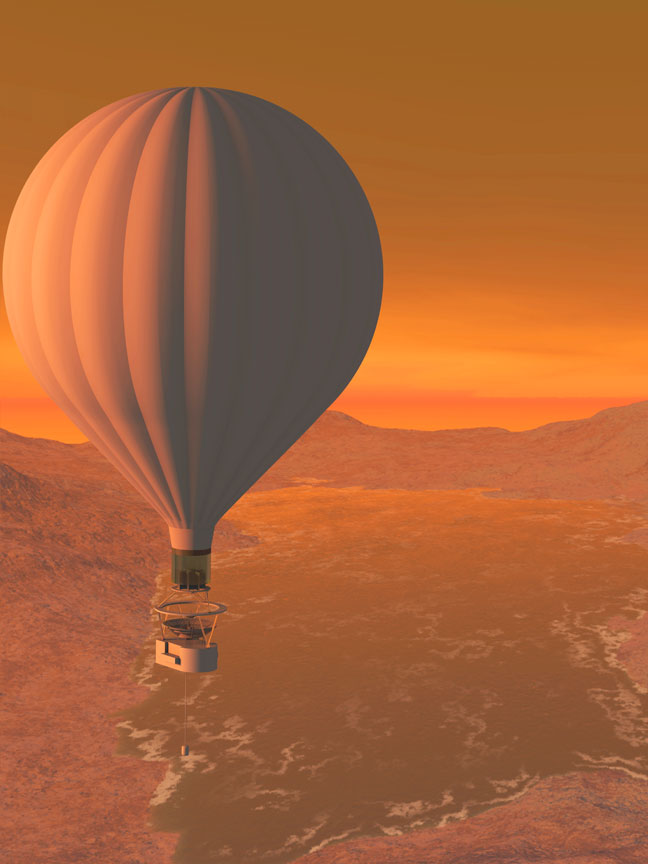 Conception of a balloon flying over Titan Lakes: courtesy artist Tibor Balint
